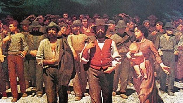 Cuadro Cuarto Estado, de Giuseppe Pellizza da Volpedo, empleado en la película Novecento